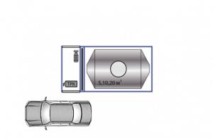 Вариант КАЗС с одной топливораздаточной колонкой (5, 10 или 20 м3). Исполнения 1, 2, 3
